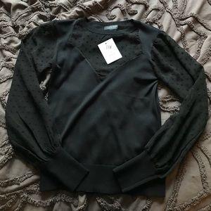 NWT Topshop Long Sleeve Shirt with Sheer Detail